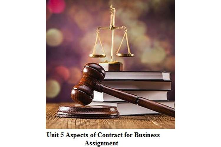 Unit 5 Aspects of Contract for Business Assignment
