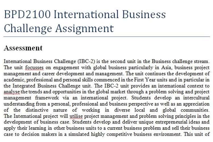 BPD2100 International Business Challenge Assignment
