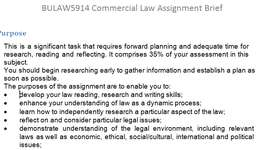 BULAW5914 Commercial Law Assignment Brief