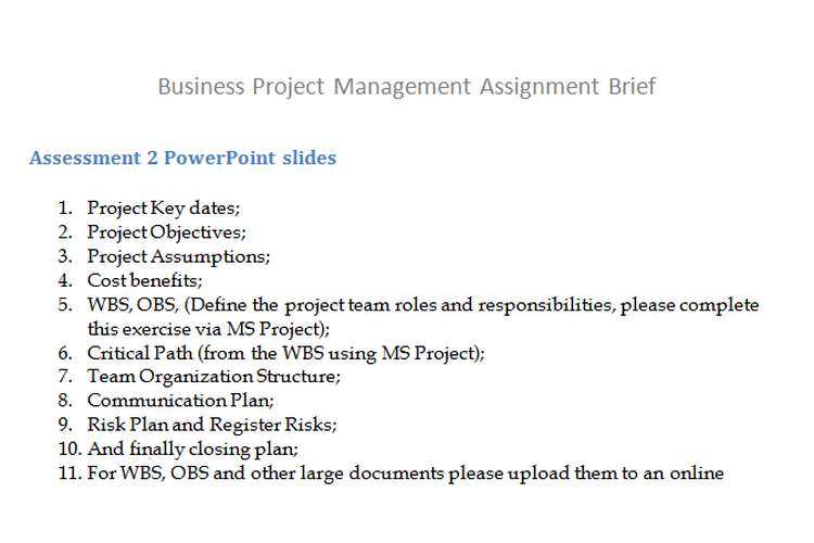 Business Project Management Assignment Brief