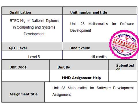 Unit 23 Mathematics for Software Development Assignment