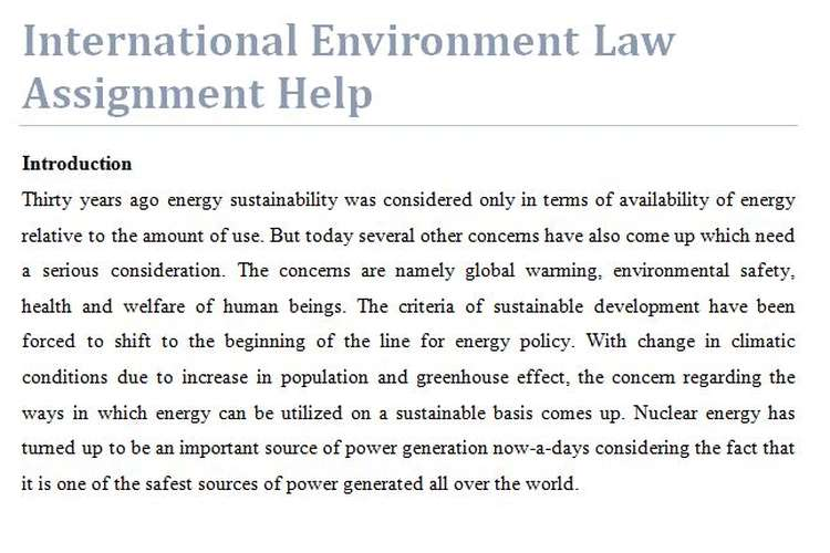 International Environment Law Assignment Help