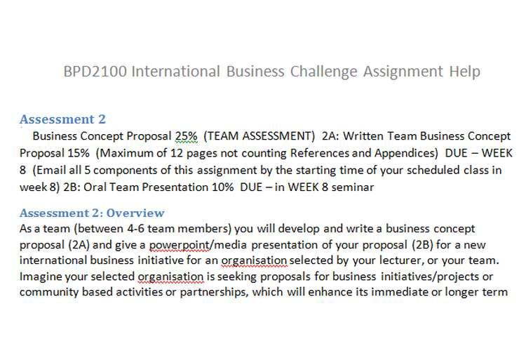 BPD2100 International Business Challenge Assignment Help