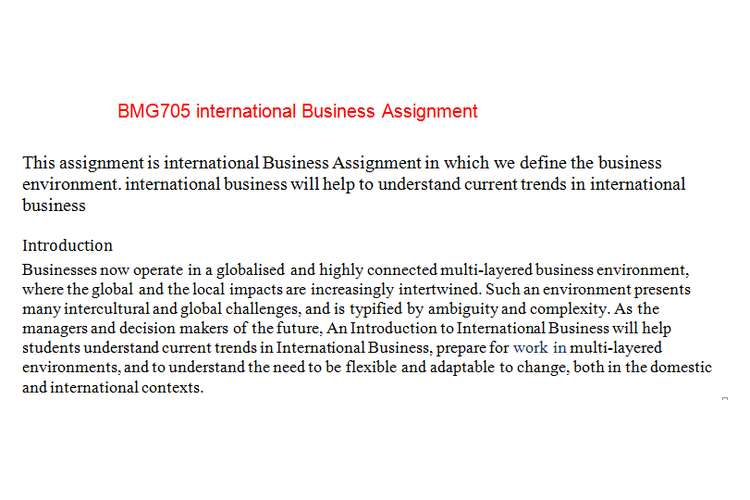 BMG705 international Business Assignment