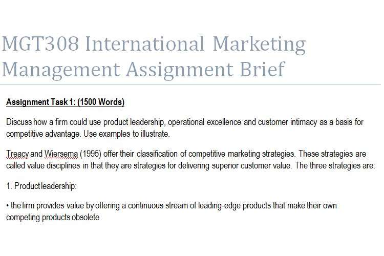 MGT308 International Marketing Management Assignment Brief