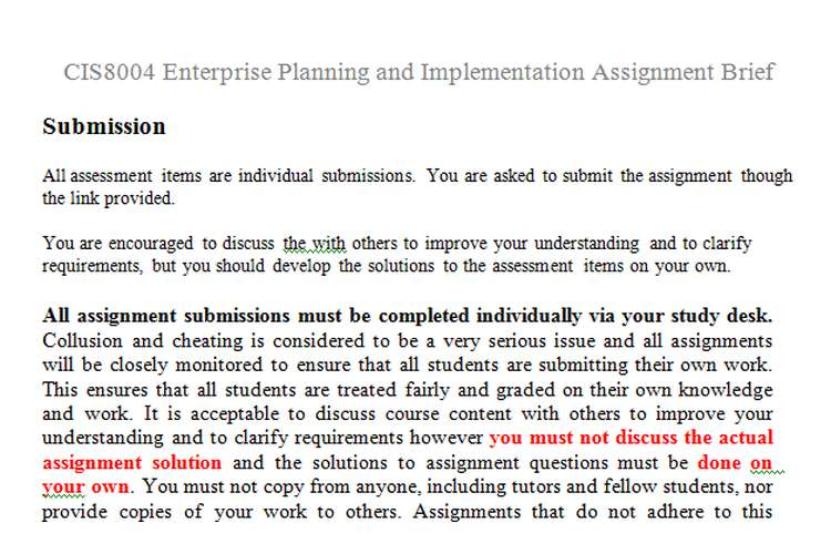 CIS8004 Enterprise Planning Implementation Assignment Brief