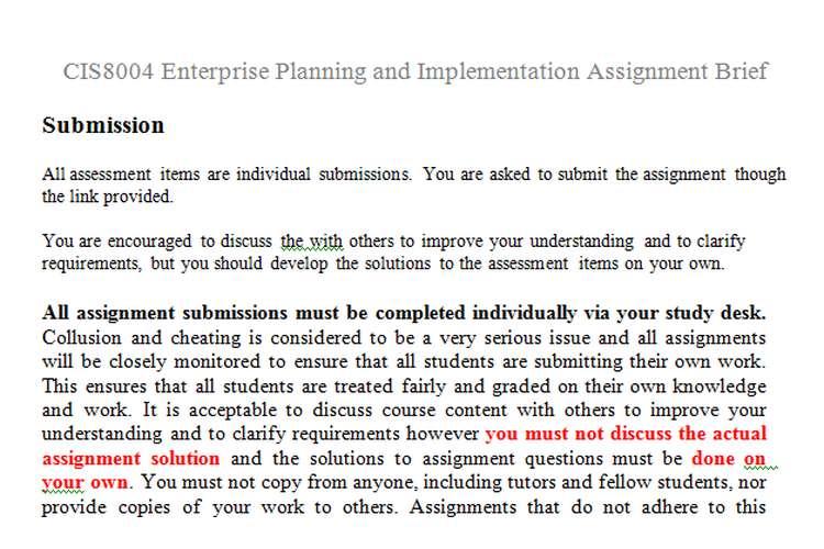 CIS8004 Enterprise Planning Implementation Assignment Brief