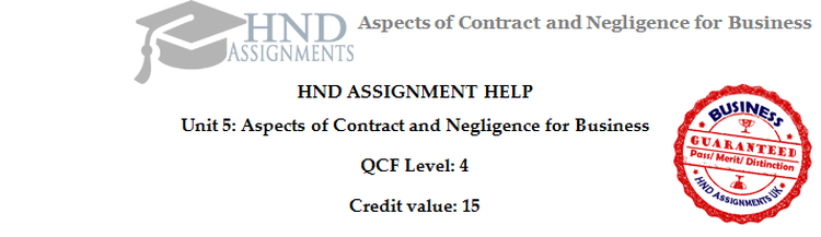 Unit 5 Aspects of Contract and Negligence Assignment Brief