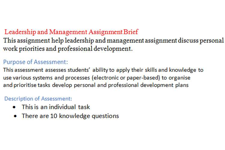 Leadership and Management Assignment Brief