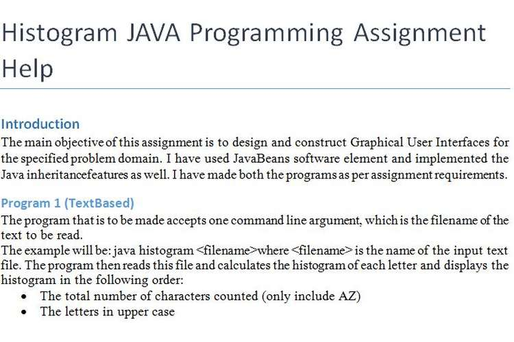Histogram JAVA Programming Assignment Help