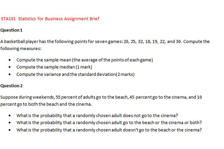 STA101 Statistics Business Assignment Brief
