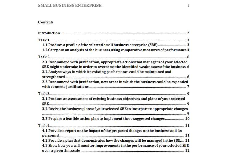 Unit 33 Small Business Enterprise Assignment Solution