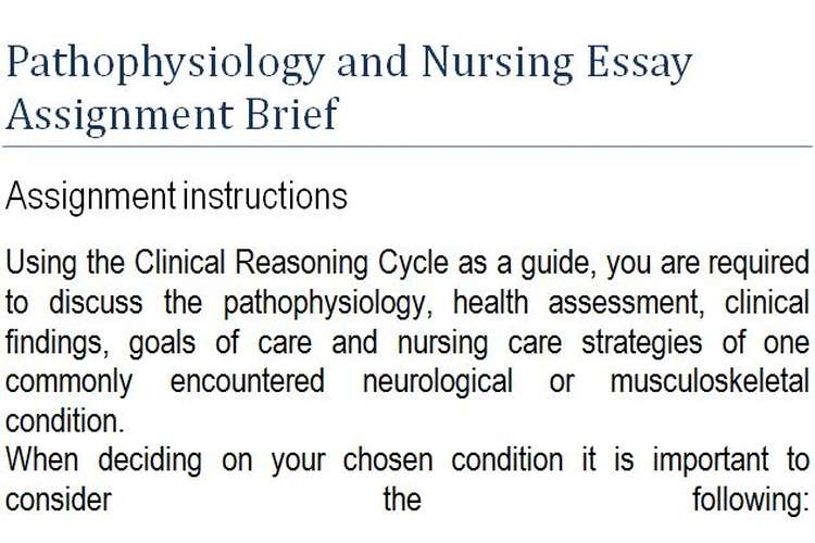 Pathophysiology Nursing Essay Assignment Brief