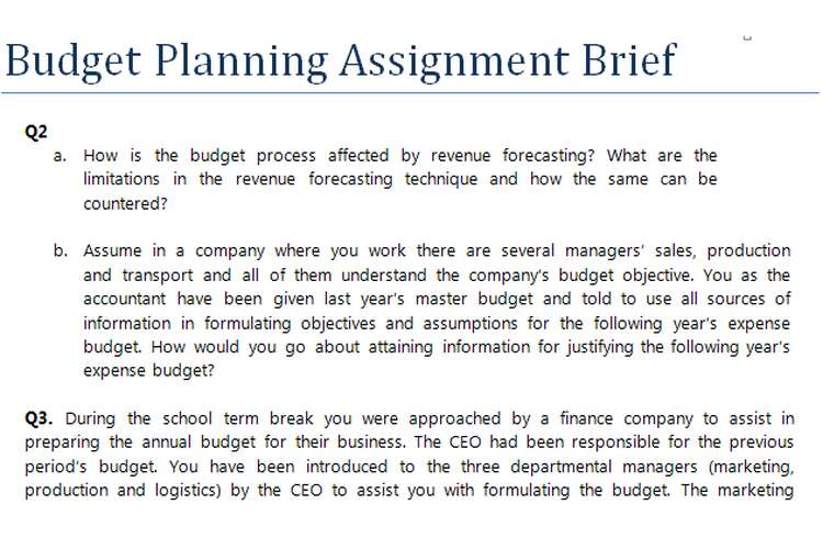 Budget Planning Assignment Brief
