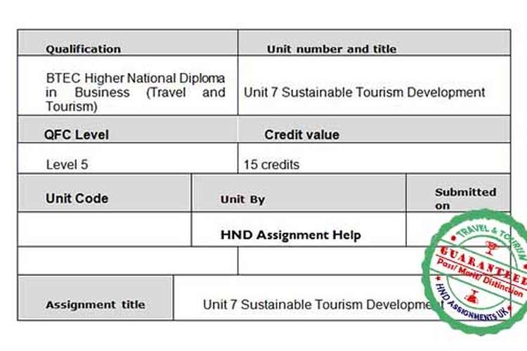 Unit 7 Sustainable Tourism Development Assignment