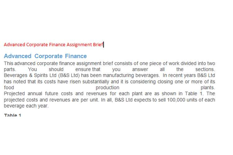 Advanced Corporate Finance Assignment Brief