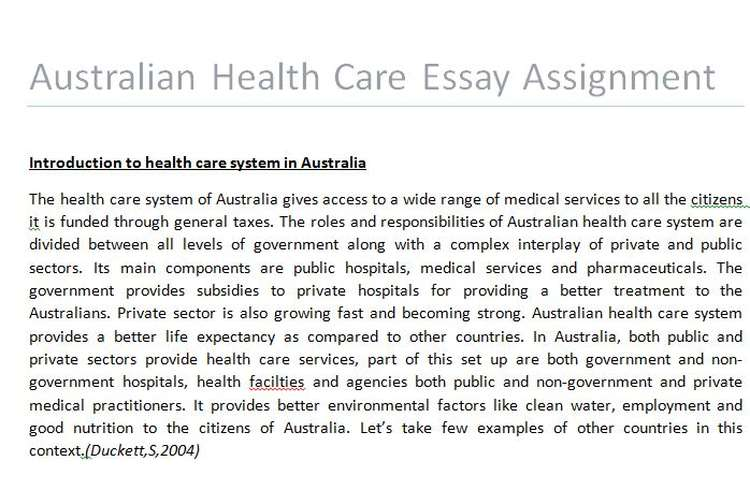 Essay on health care