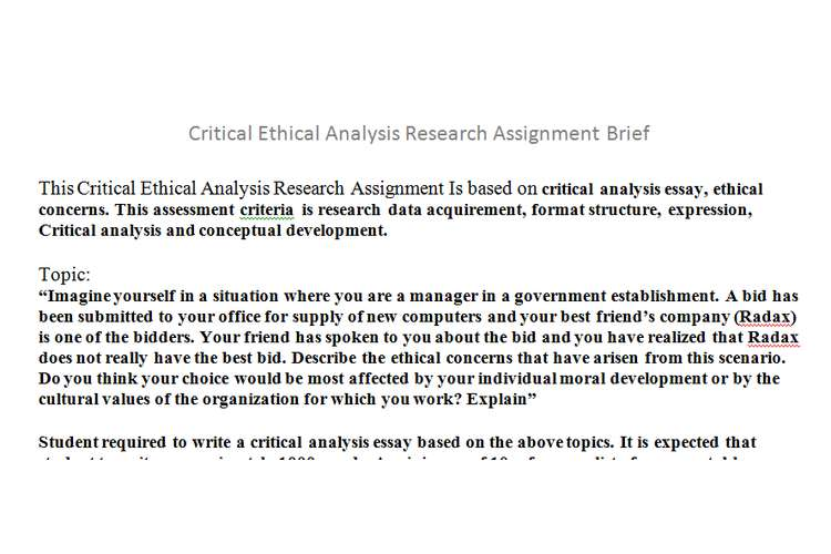 Critical Ethical Analysis Research Assignment Brief
