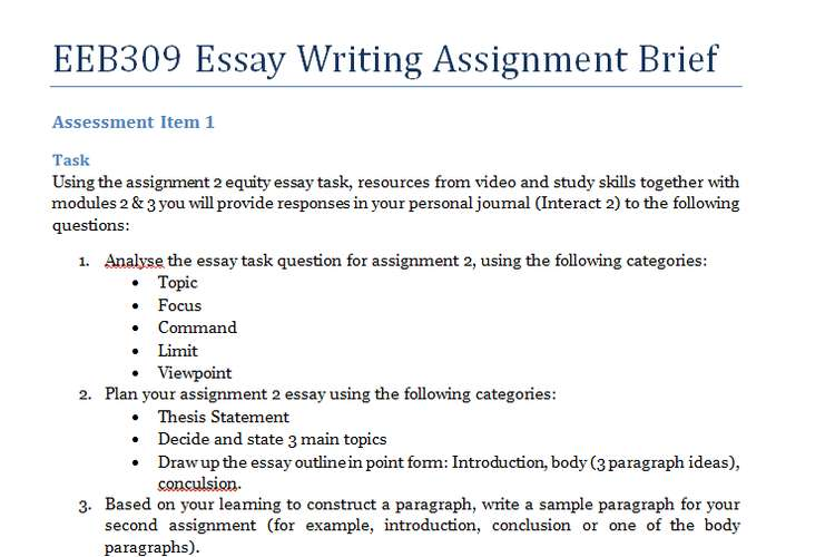 Eeb309 Essay Writing Assignment