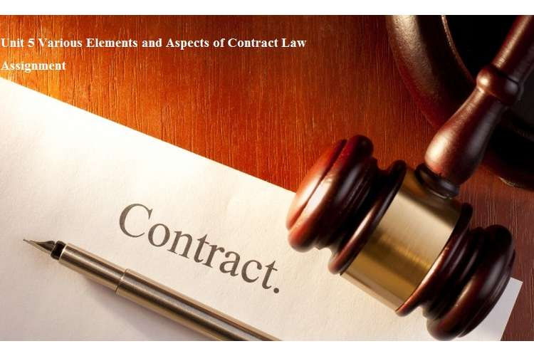 Unit 5 Various Elements and Aspects of Contract Law Assignment