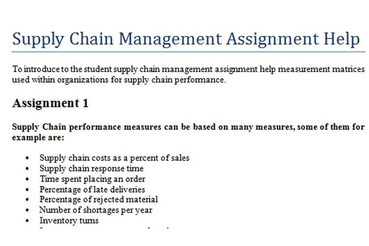 Supply Chain Management Assignment Help