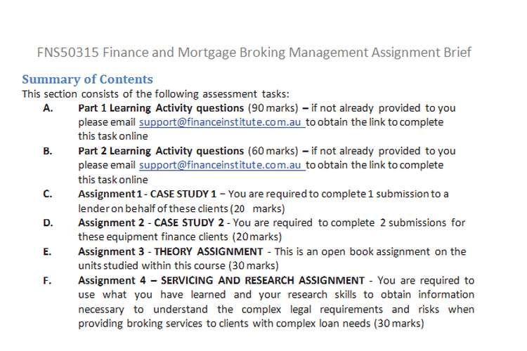 finance mortgage broking management assignment brief fns50315 finance mortgage broking management assignment brief