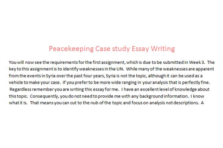 Peacekeeping Case study Essay Writing