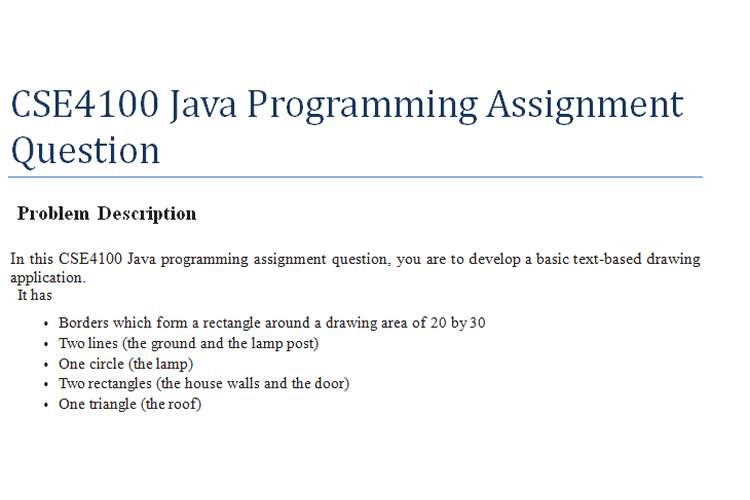 CSE4100 Java Programming Assignment Question