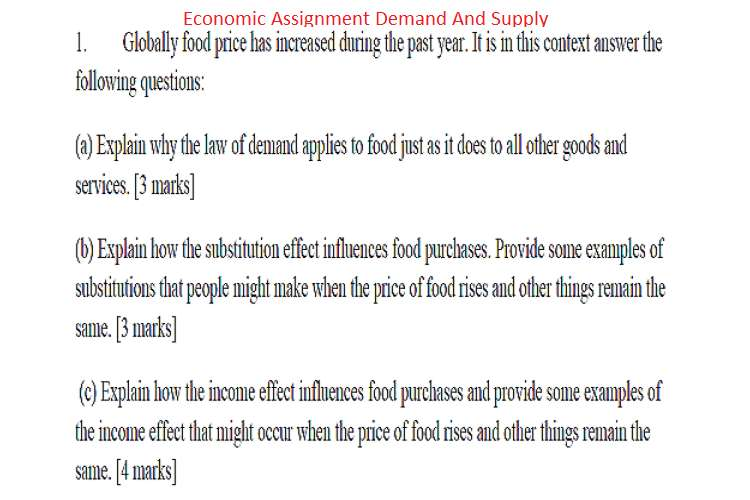 Economics Assignment Demand and Supply