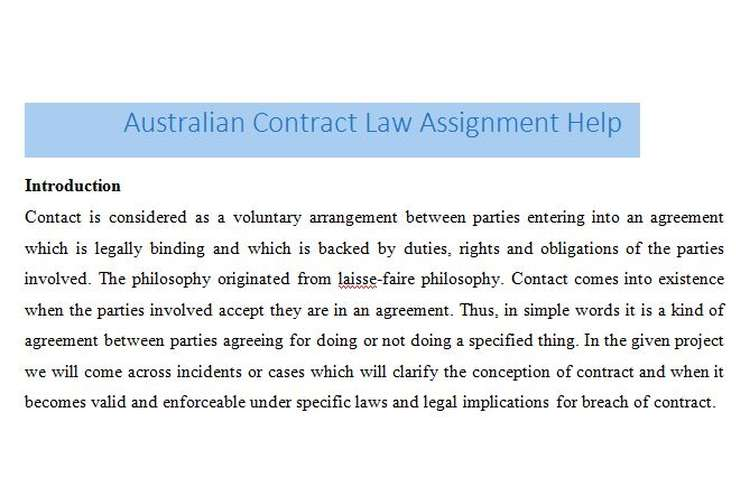 Australian Contract Law Assignment Help  Assignment Help Australia