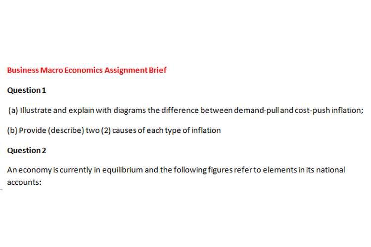 Business Macro Economics Assignment Brief