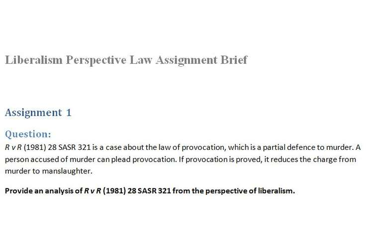 Liberalism Perspective Law Assignment Brief