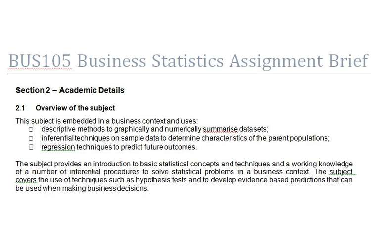 BUS105 Business Statistics Assignment Brief