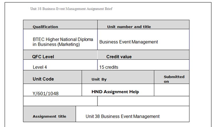 Business Event Management Assignment Brief