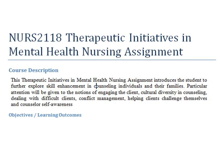 NURS2118 Therapeutic Initiatives in Mental Health Nursing Assignment