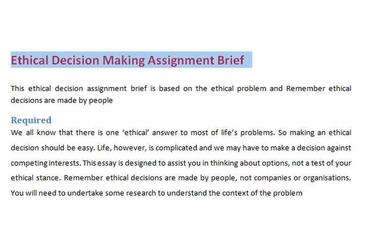 Ethical Decision Making Assignment Brief