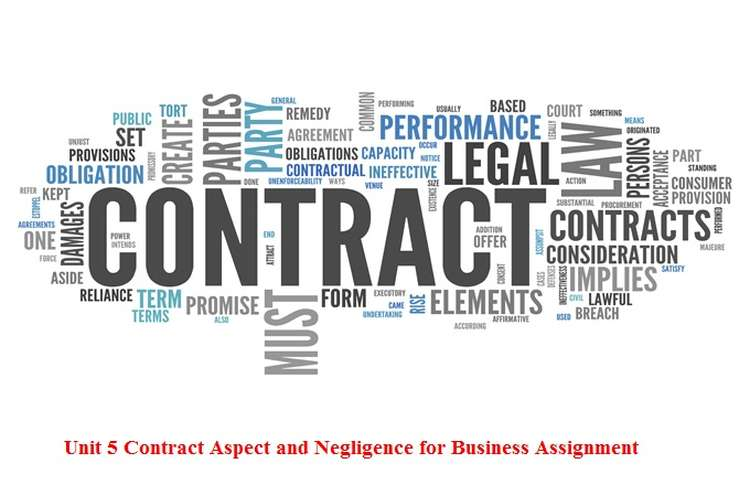 Unit 5 Contract Aspect and Negligence for Business Assignment