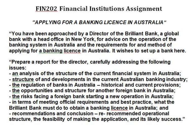 FIN202 Financial Institutions Assignment