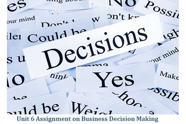 Unit 6 Assignment on Business Decision Making