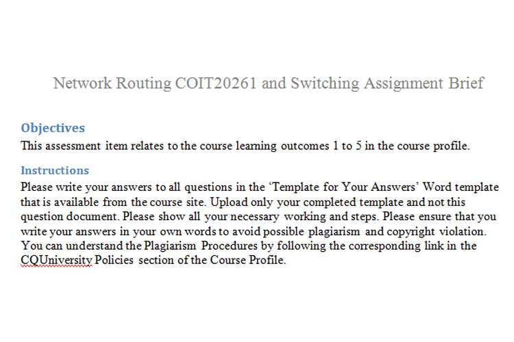 Network Routing Switching Assignment Brief