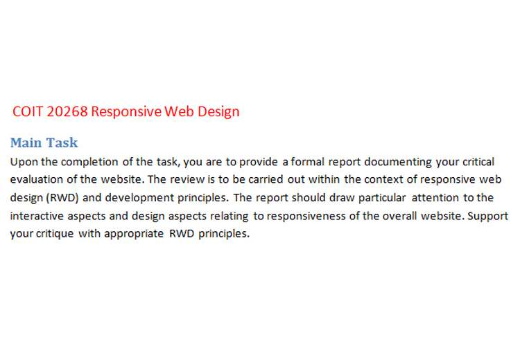 COIT20268 Responsive Web Design Assignment Brief