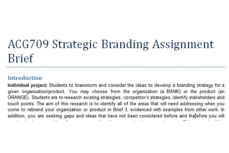 ACG709 Strategic Branding Assignment Brief