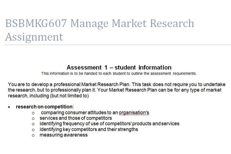 BSBMKG607 Manage Market Research Assignment