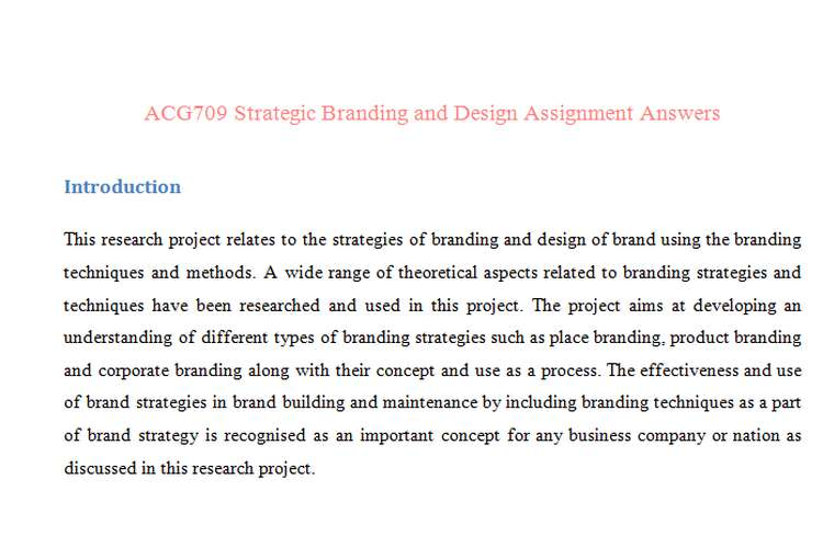ACG709 Strategic Branding Design Assignment Answers