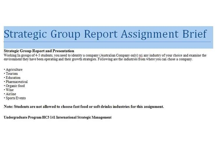 Strategic Group Report Assignment Brief