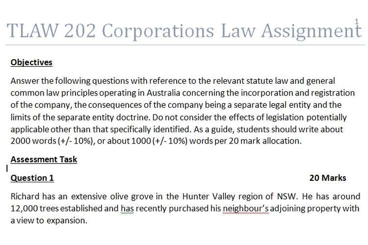 TLAW202 Corporations law Assignment