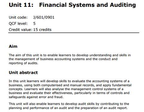Financial Systems and Auditing