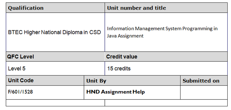 Information Management System Programming in Java Assignment