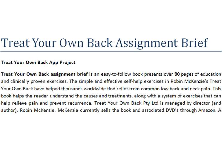 Treat Your Own Back Assignment Brief