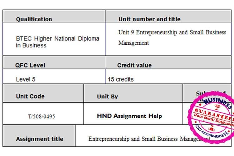 Unit 9 Entrepreneurship and SBM Assignment